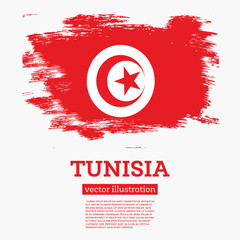 Tunisia Flag with Brush Strokes.