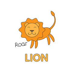 Cartoon Lion Flashcard for Children
