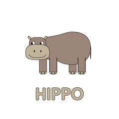 Cartoon Hippo Flashcard for Children