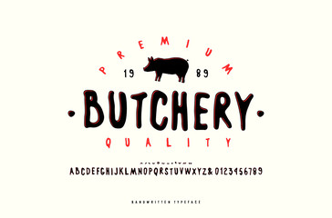 Decorative sans serif font and label for butchery