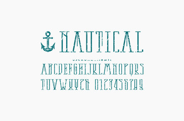Decorative narrow serif font in nautical style