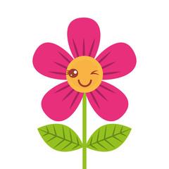 beautiful flower wink kawaii cartoon