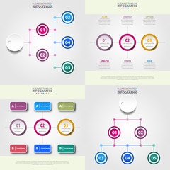 Business timeline strategy infographics design template set Vector eps10