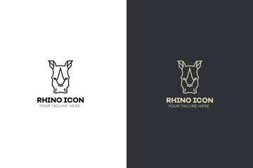 Stylized geometric Rhinoceros head illustration. Vector icon tribal rhino design.