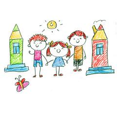 Small children play and study. Kids drawing style illustration. Kindergarten, school, nursery children. Hap