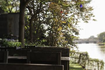 Outdoor garden with wooden set of furniture