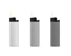 A set of gray lighters. Flammable fuel. Vector illustration.