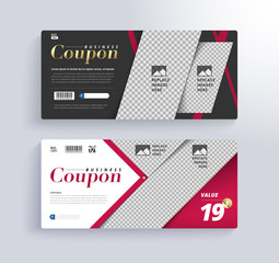 GIFT COUPON Template. Blank space for images.