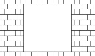 3d illustration. blank White Square MOCK up in the middle of Brick blocks wall background.