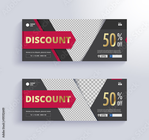 DISCOUNT VOUCHER Template. Blank space for images.\