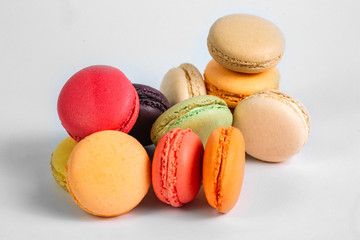Fotobehang Macarons Colorful macaroons isolated on white background