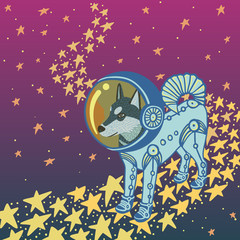 Husky dog in blue space suit