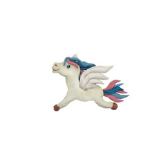 Plasticine flying horse pegasus sculpture 3D rendering isolated on white background