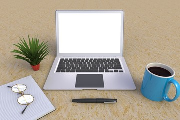 Computer Network Connection Digital Technology, Coffee cup with notebook on wood table background, Top view with copyspace for your text, 3D rendering