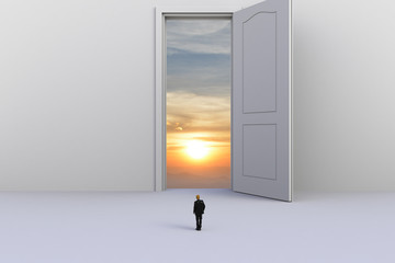 Success concept with businessman, Image of miniature businessman standing in front of open white door on white wall background, 3D rendering