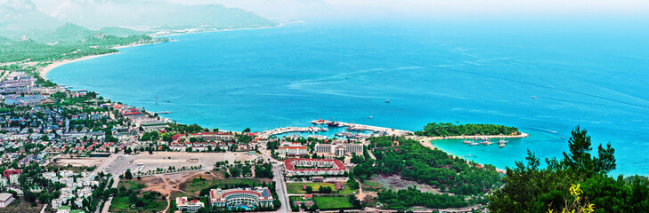 Panoramic view of Kemer and Moonlight beach in Antalya, Turkey. Blue water of Mediterranean sea