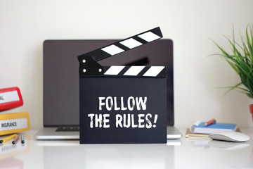 Cinema Clapper with Follow The Rules! word