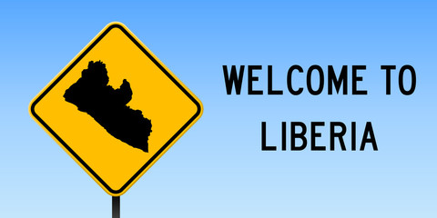 Liberia map on road sign. Wide poster with Liberia country map on yellow rhomb road sign. Vector illustration.