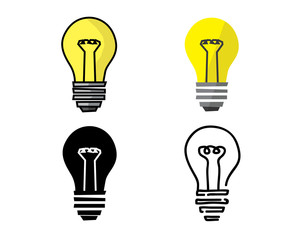 light bulb icon in different style illustration , cartoon flat silhouette and hand drawn design style , designed for illustration