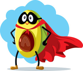 Superhero Avocado Super Food Vector Cartoon