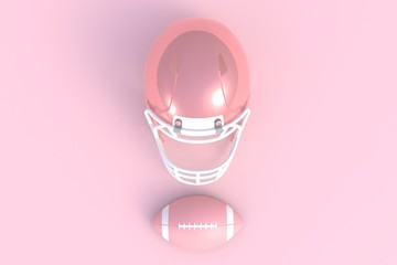 American football abstract minimal pink background, 3d rendering