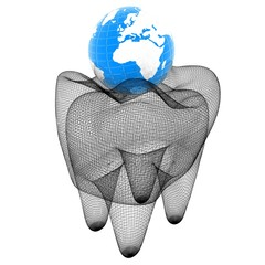 Tooth and Earth. Mesh model. 3d illustration