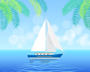 Sailboat Isolated on Clean Water in Summertime