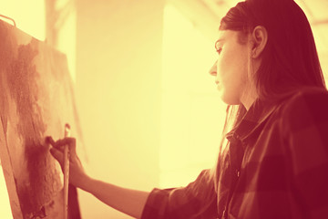 Young european artist girl, art, paintings, fantasy