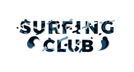 Paper cut surfing club words 3d sign isolated on white background. Vector illustration. Vector design layout for banners, greetings, flyers, posters and invitations. Eps10