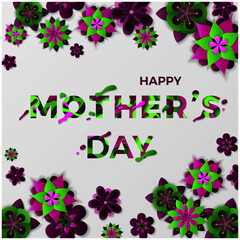 Happy Mothers day greeting card with typographic design and floral elements. Paper cut style violet flowers. Vector illustration. Eps10