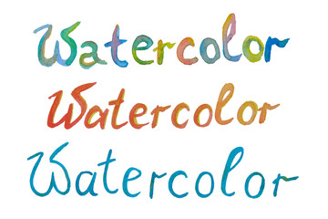 Word of watercolor with different colors on a white background