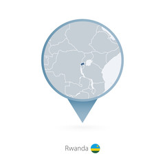 Map pin with detailed map of Rwanda and neighboring countries.