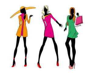 Pretty fashionable silhouette. Fashionable girls. Vector illustration.
