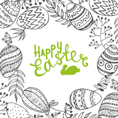 Easter background with eggs and twigs