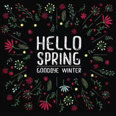 Vector inscription hello spring goodbye winter on black background