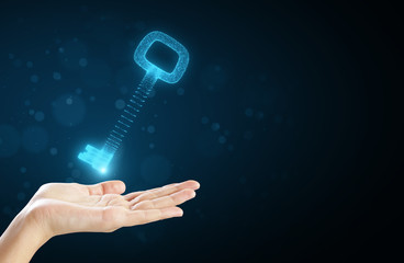 Hand holding digital key