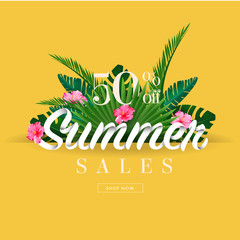 Summer sale discount  End of season banner on Yellow background . Can used for gift voucher, poster,advertising social media and cover magazine promotion. Vector illustration