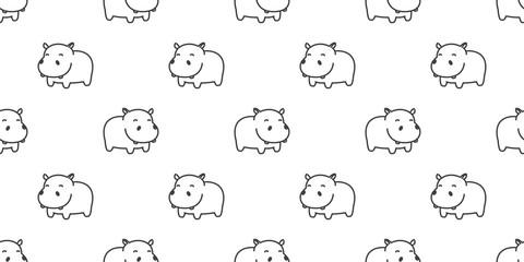 Hippo Seamless Pattern hippopotamus vector isolated wallpaper background