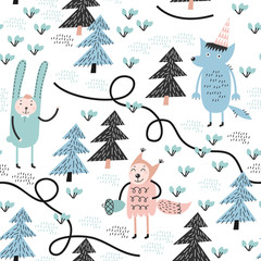 Seamless pattern with wolf, rabbit and squirrel. Childish pattern. Great for fabric.