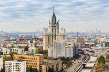 Beautiful Moscow cityscape - top view