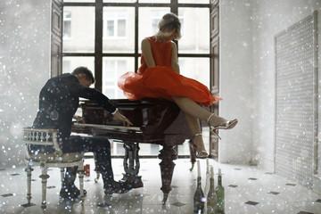 Grand piano lovers play music