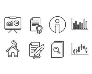 Set of Presentation, Feather signature and Certificate icons. Bar diagram, Search files and Candlestick graph signs. Board with charts, Feedback, Diploma. Vector