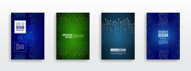 Technology communication element for brochure. Circuit board background for magazine cover. Futuristic hi-tech flyer template. Abstract digital concept booklet. Computer technology illustration.