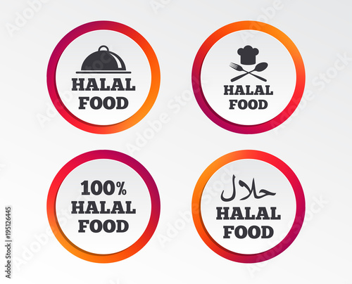 Halal Food Icons 100 Natural Meal Symbols Chef Hat With Spoon And