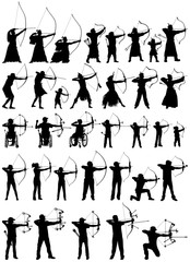 Modern and antique archers of the world, archery vector silhouettes collection