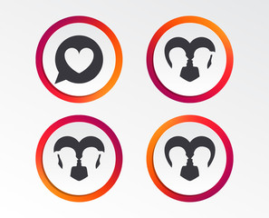 Couple love icon. Lesbian and Gay lovers signs. Romantic homosexual relationships. Speech bubble with heart symbol. Infographic design buttons. Circle templates. Vector