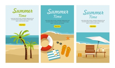 Summer Vacation and Tourism. Set Three Web banners