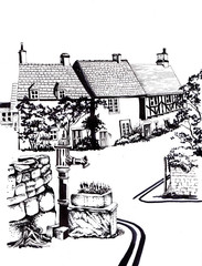 Old English houses. Black and white sketch.