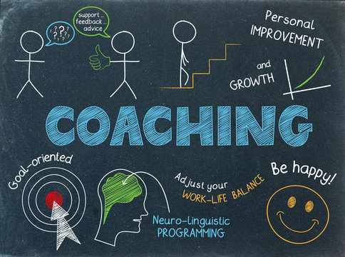 COACHING Graphic Notes on Chalkboard