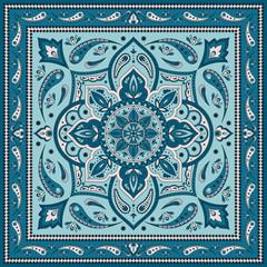 Floral indian paisley pattern vector border. Vintage flower ethnic ornament for scarf bandana print fabric. Oriental folk design for silk shawl, persian rug, gypsy carpet textile, boho medallion.